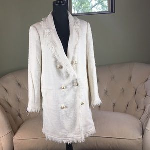 ZARA Cream long blazer